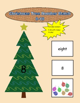 Christmas Tree Number Match 0-10 File Folder Game