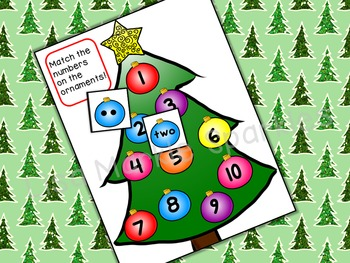 Christmas Tree Number Recognition Math Center Activity