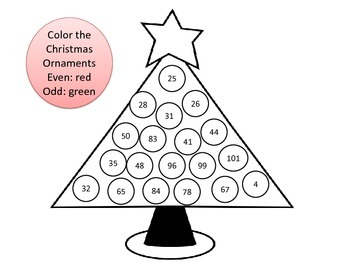 Christmas Tree Oranment Color By Odd or Even Numbers