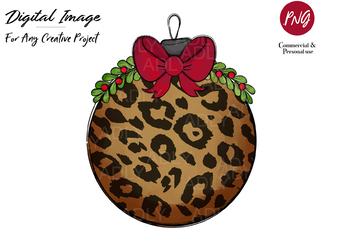 Christmas Tree Ornament Ball with Leopard Pattern,  Sublimation Design