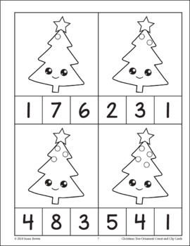 Christmas Tree Ornament Count and Clip Cards
