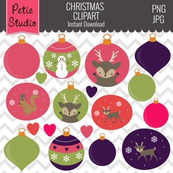 Christmas Tree Ornaments Clipart // Holiday Ornaments // Reindeer - Winter130