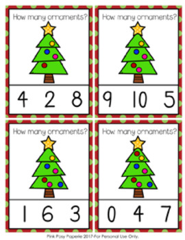 Christmas Tree Ornaments Count and Clip Cards Numbers 0-10