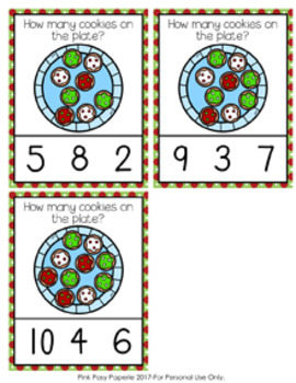 Christmas Cookies Count and Clip Cards Numbers 0-10