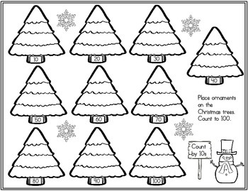 (FREE) Christmas Tree Ornaments Counting Worksheet: 1s, 2s, 5s, 10s