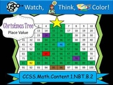Christmas Tree Place Value Practice - Watch, Think, Color