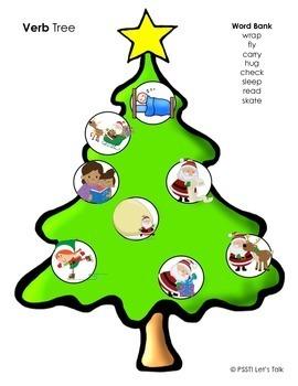 Christmas Tree Play Dough Mats for Language