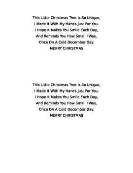Christmas Tree Poem with Craft Idea