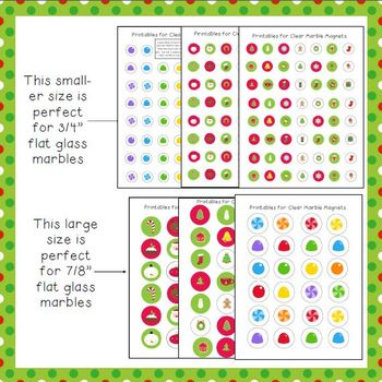 Christmas Tree Printables to Make a Magnet Board and Glass Marble Magnets