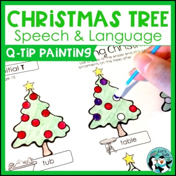 Christmas Tree Q-tip Painting for Articulation