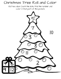 Christmas Tree Roll and Color, Christmas Worksheet, Math Center, Morning Work