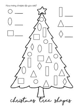 Christmas Shapes.Christmas Tree Shape Count And Color