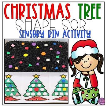 Christmas Tree Shape Sort-Sensory Bin Activity