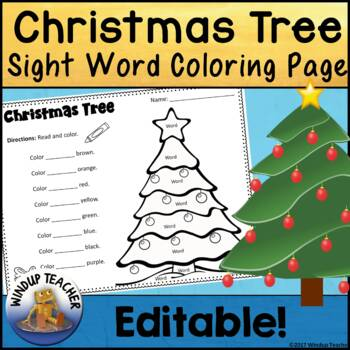 Christmas Tree Sight Word Activity Sheet  *Editable*