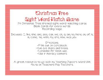 Christmas Tree Sight Word Match Game