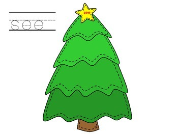 Christmas Tree Sight Word Mats - Kindergarten; First; Autism; Special Education