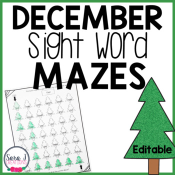 Christmas Tree Sight Word Mazes