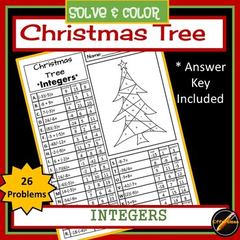Christmas Tree Solve and Color: Integers(add/subtract/multiply/divide)