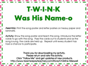 Christmas Tree Song And Posters T-W-I-N-K Was His Name-O