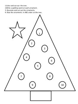 Spelling Word Christmas Tree
