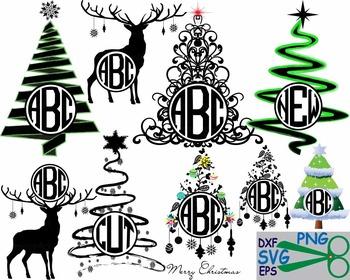 Christmas Tree Star deers winter Cutting clip art black rudolph reindeer -35S