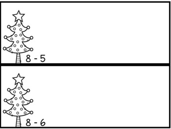 Christmas Tree Subtraction Mats with Numbers up to 10