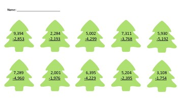Christmas Tree Subtraction with regrouping- 4-digit by 4-digit