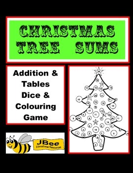Christmas Tree Sums: Addition & Tables Dice & Colouring Maths Game