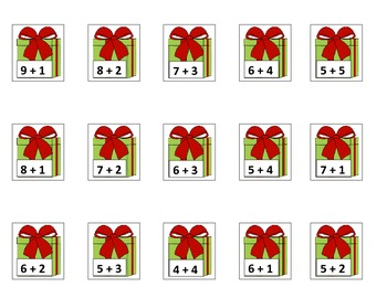 Christmas Tree Math - Sums to 10 Game for Common Core