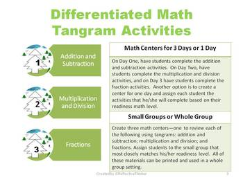 Christmas Tree Tangrams:  Differentiated Math Activities for Math Centers