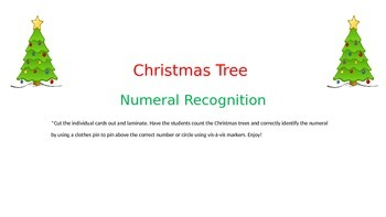 Christmas Tree Ten Frame Numeral Match