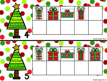 Christmas Tree Ten Frames 0-20 with Christmas Presents Counters