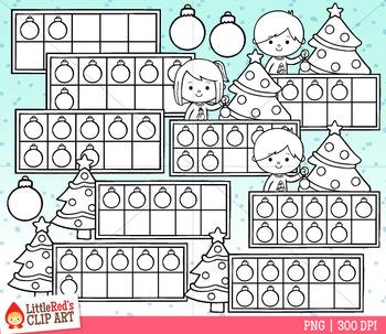 Christmas Tree Ten Frames Clip Art