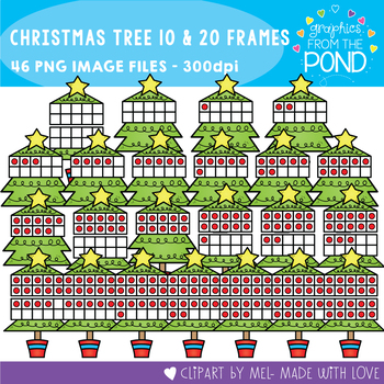 Christmas Tree Ten and Twenty Frame Clipart