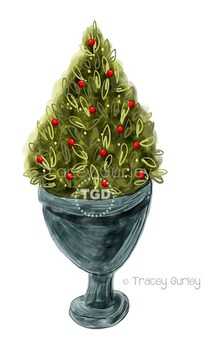 Christmas Tree Topiary in Urn clip art, Printable Tracey Gurley Designs
