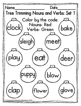 Christmas Tree Trimming Nouns and Verbs Sort {Freebie!}