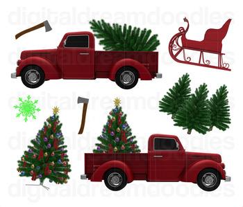 Christmas Tree Truck Clip Art  - Xmas Holiday Trucks Digital PNG Graphics