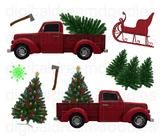 Christmas Tree Truck Clip Art  - Xmas Holiday Trucks Digit
