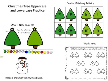 Christmas Tree Capital and Lowercase Alphabet Practice