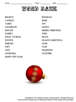 Christmas Tree Word Search