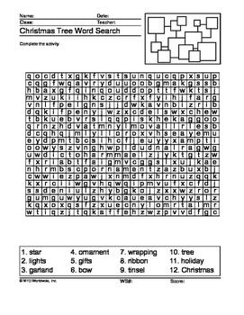 Christmas Tree Word Search Printable