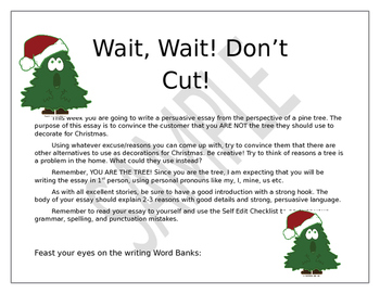 Christmas Tree Writing Prompt - Persuasive Essay
