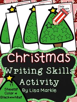 Christmas Tree Writing Skills Center Activity for Preschool