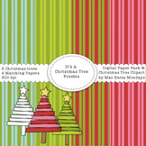 Christmas Tree Clipart and Matching Striped Digital Paper Background Freebie
