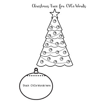 Christmas Tree and Ornament Flip Book CVC and CVCe Word Contrasts Phonics Skills