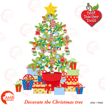 Christmas Tree clipart, Decorate your own Christmas Tree, AMB-1520
