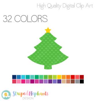 Christmas Tree with Star Clip Art - Polka Dot