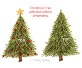 Christmas Tree with ornaments and without ornaments Tracey Gurley Designs