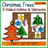 Christmas Trees Build 3 Addend Addition & Subtraction Number Sentences