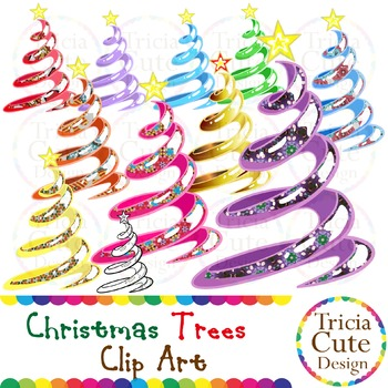 Christmas Trees Clip Art Rainbow Colors & Patterned